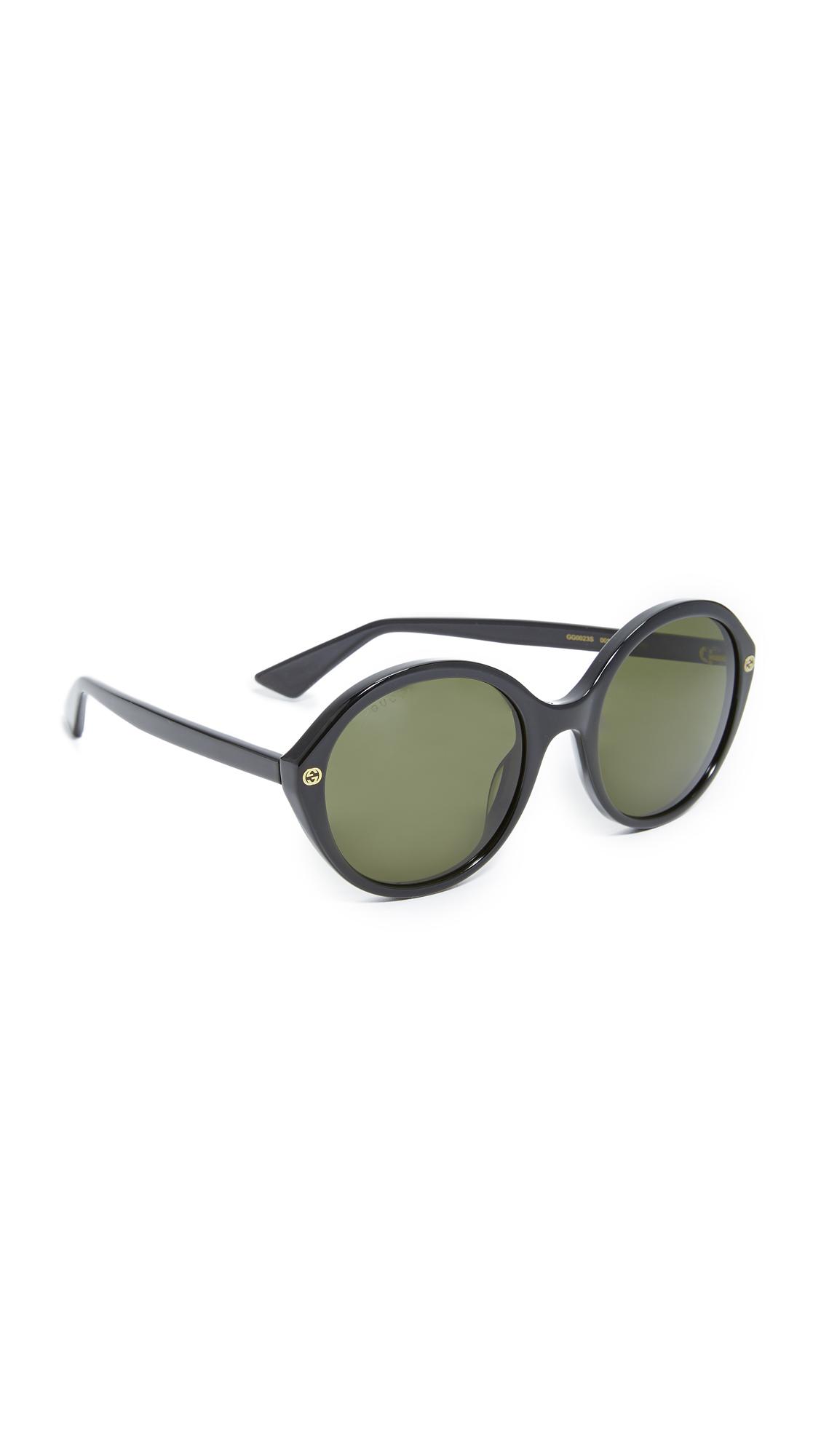 Gucci Lightness Round Sunglasses - Black/Green at Shopbop