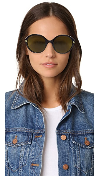 GUCCI Lightness Round Sunglasses in Black/Green Solid