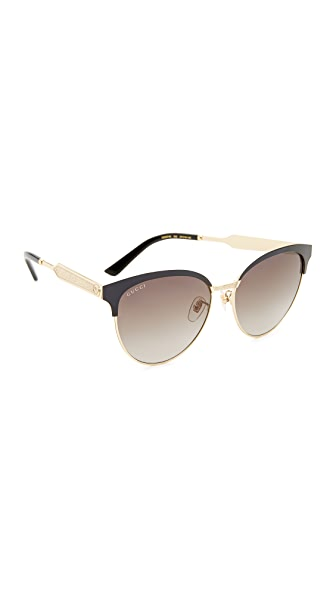 Gucci Decorness Cat Eye Sunglasses - Black/Grey