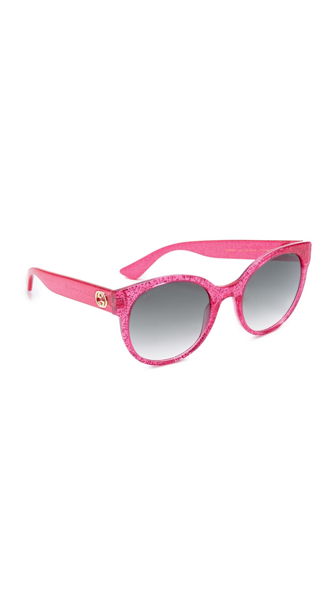 Gucci Urban Pop Round Sunglasses - Glitter Fuchsia/Green at Shopbop