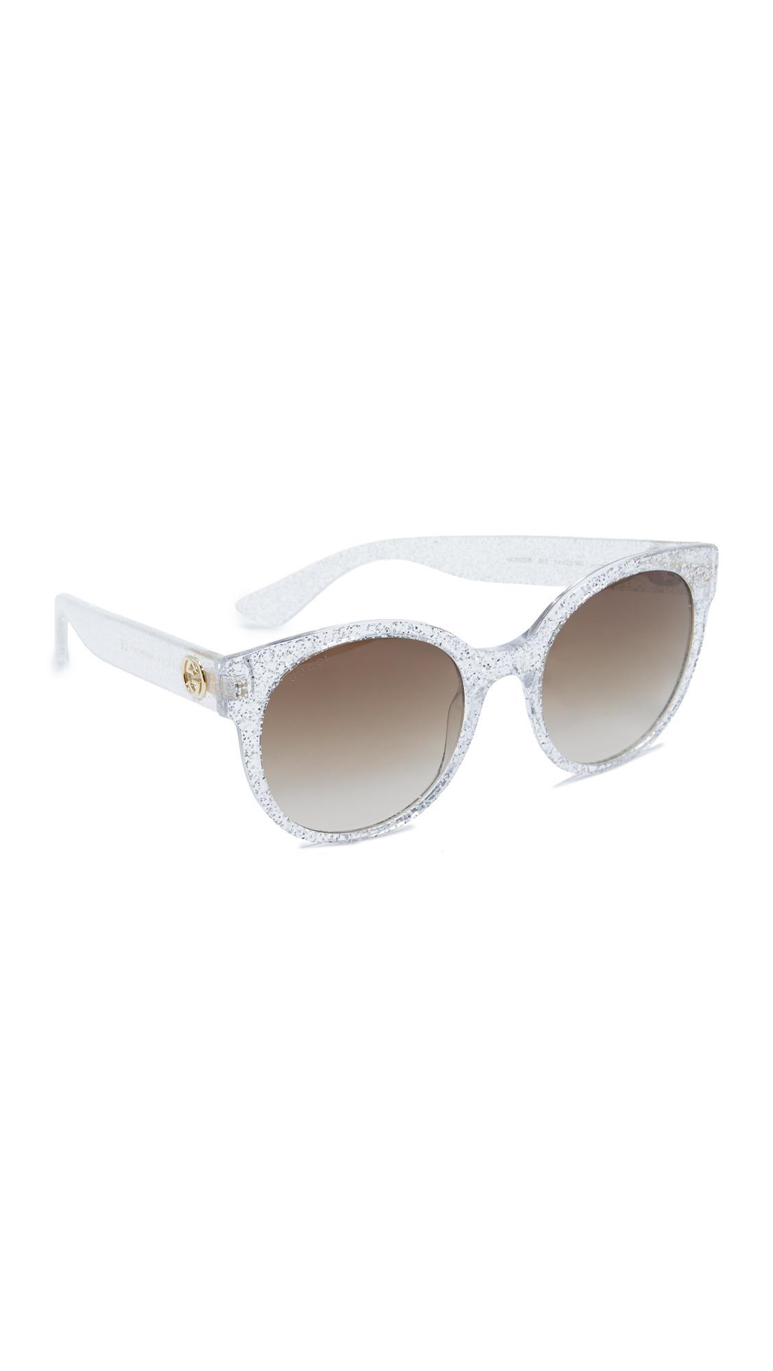 Gucci Urban Pop Round Sunglasses - Glitter Silver/Brown at Shopbop