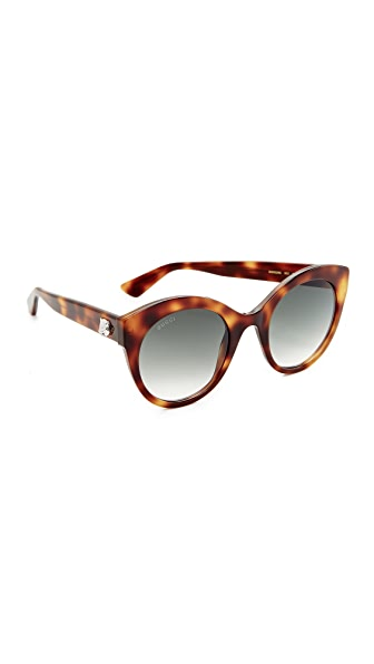 Gucci Cat Eye Tiger Sunglasses - Havana/Green