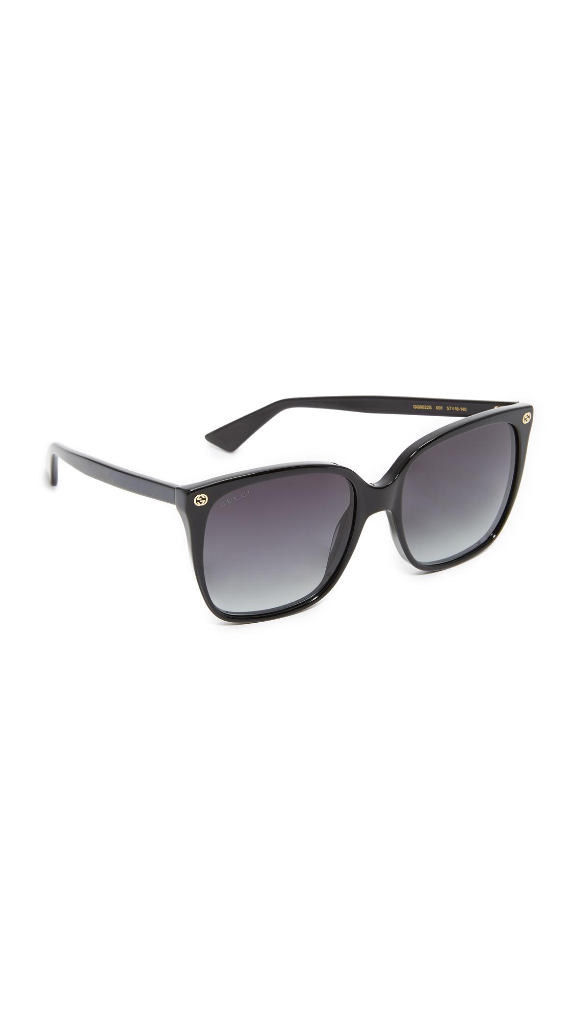 Gucci Lightness Square Sunglasses - Black/Grey at Shopbop