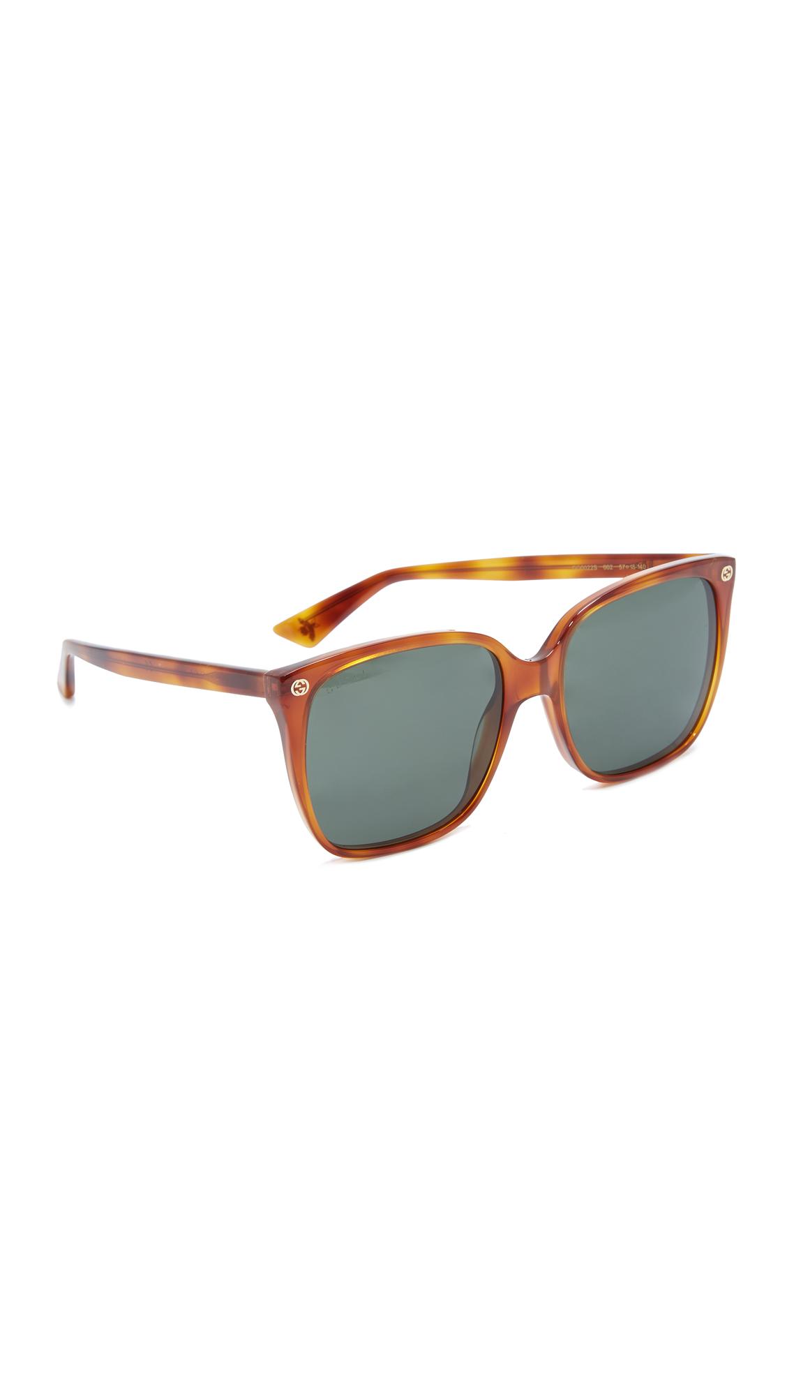 Gucci Lightness Square Sunglasses - Blonde Havana/Green at Shopbop