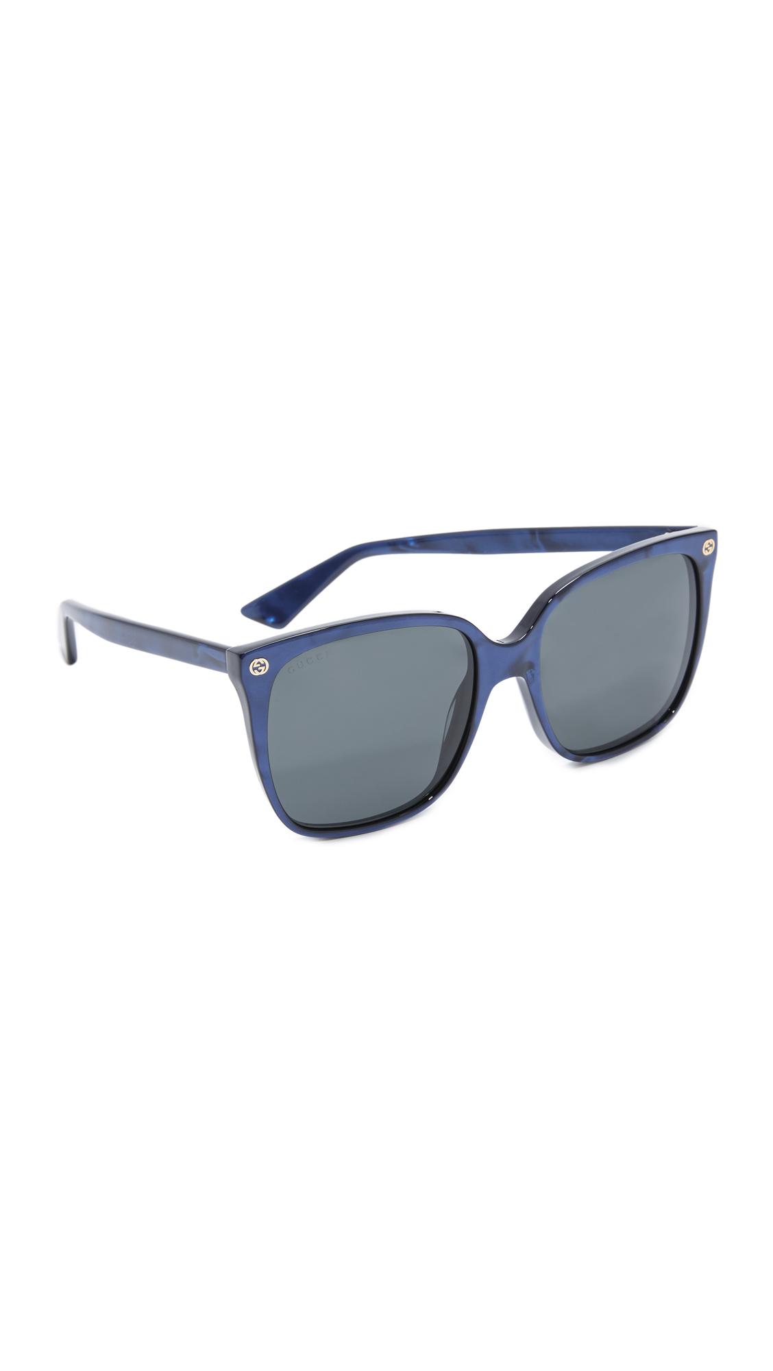 Gucci Lightness Square Sunglasses - Pearled Blue/Gray at Shopbop