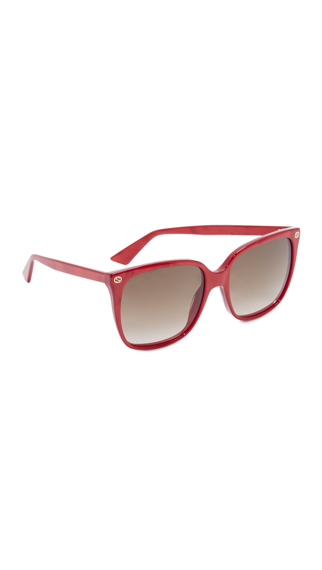 Gucci Lightness Square Sunglasses - Pearled Red/Brown