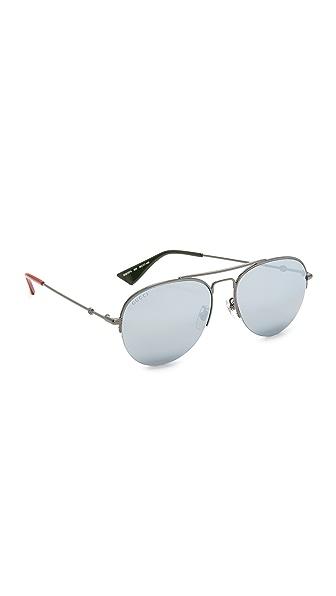 Gucci Urban Pilot Aviator Sunglasses - Ruthenium/Silver
