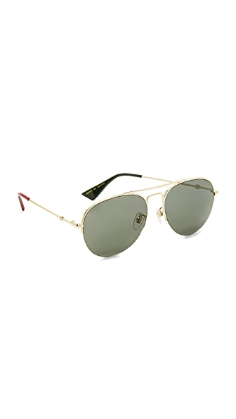 Gucci Urban Pilot Aviator Sunglasses - Endura Gold/Green