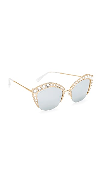 Gucci Swarovski Crystal Cat Eye Sunglasses - Gold/Silver