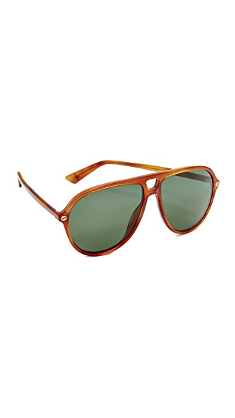 Gucci Urban Pilot Aviator Sunglasses - Blonde Havana/Green