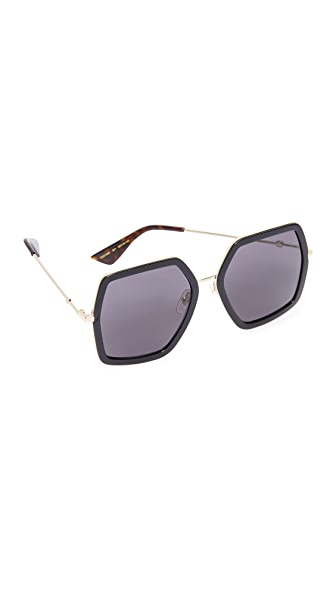 Gucci Urban Web Block Sunglasses at Shopbop