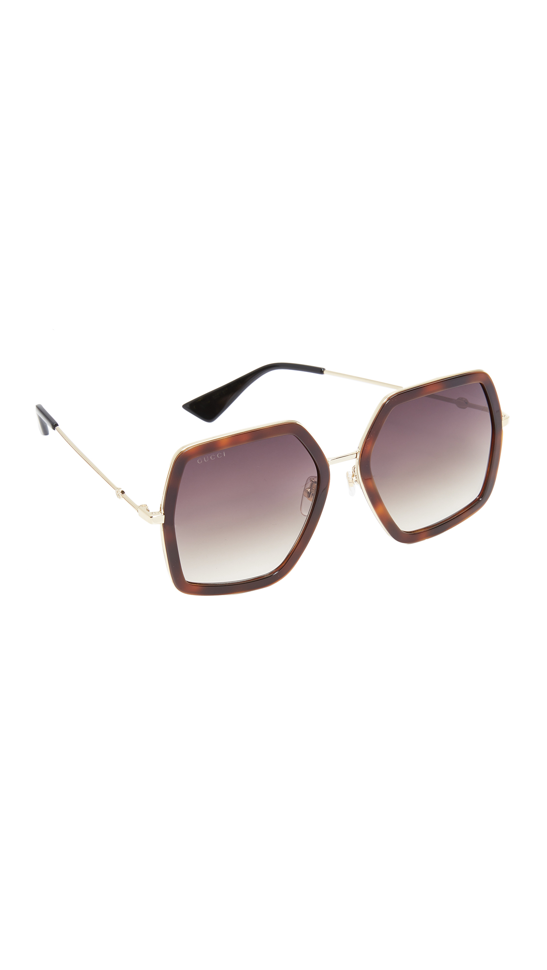 Gucci Urban Web Block Sunglasses - Havana/Brown