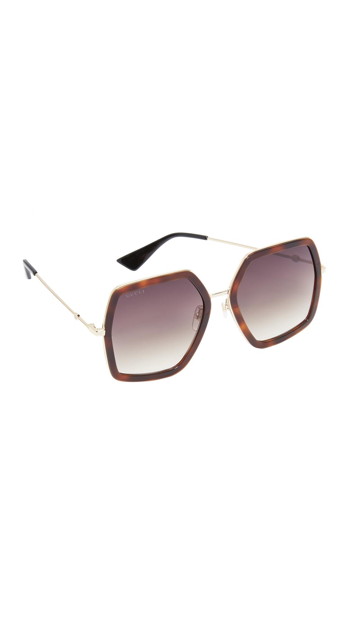 Gucci Urban Web Block Sunglasses - Havana/Brown