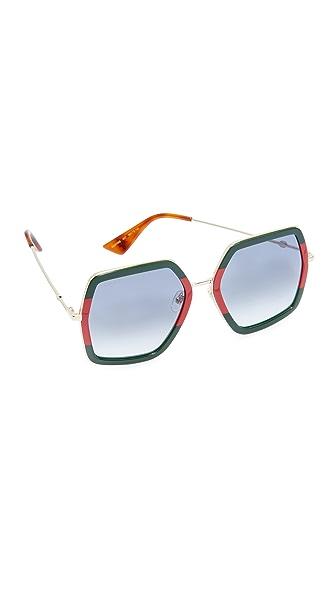 Gucci Urban Web Block Sunglasses - Green Red/Grey