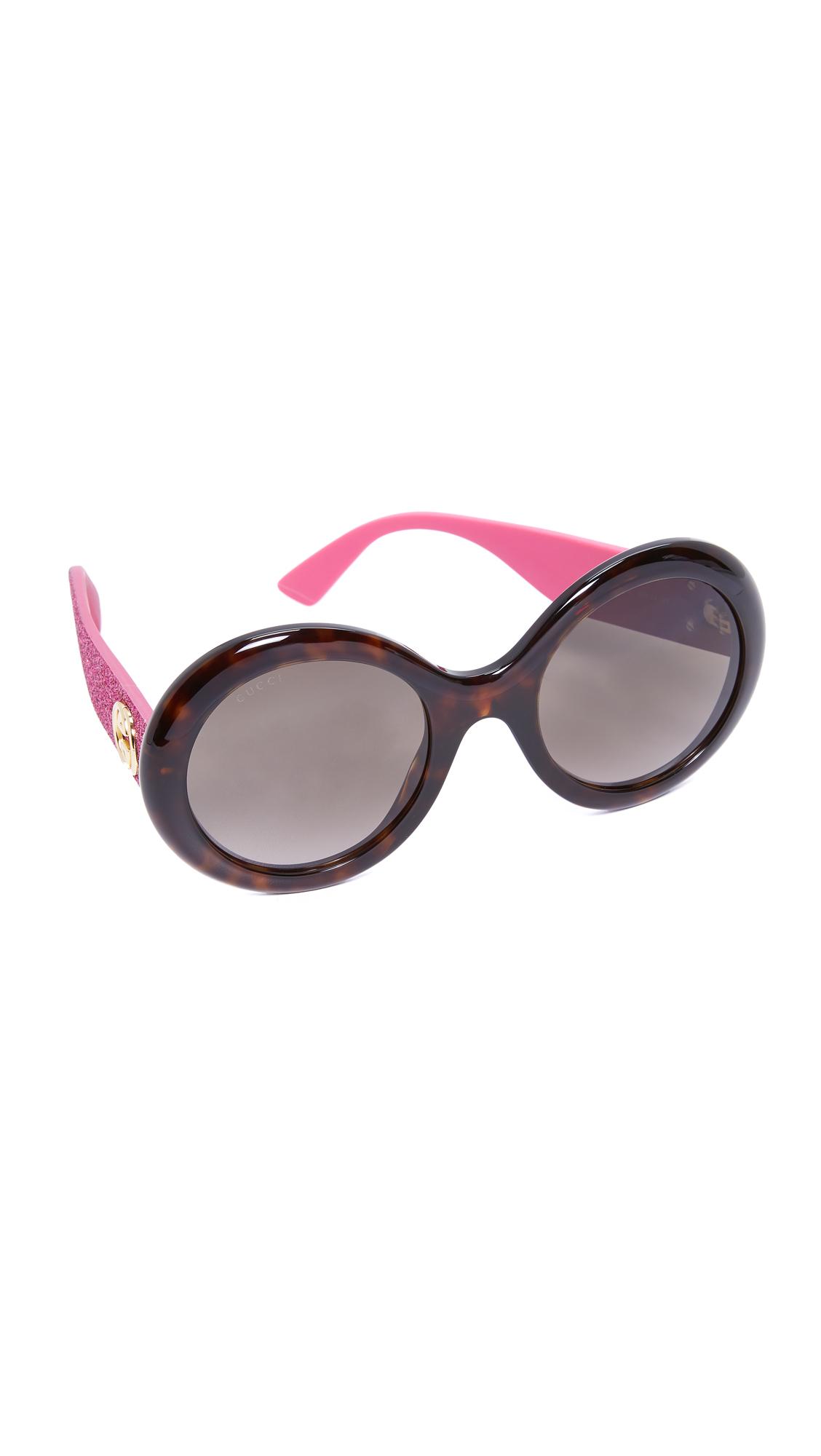 Gucci Urban Pop Glitter Round Sunglasses - Dark Havana Pink/Brown