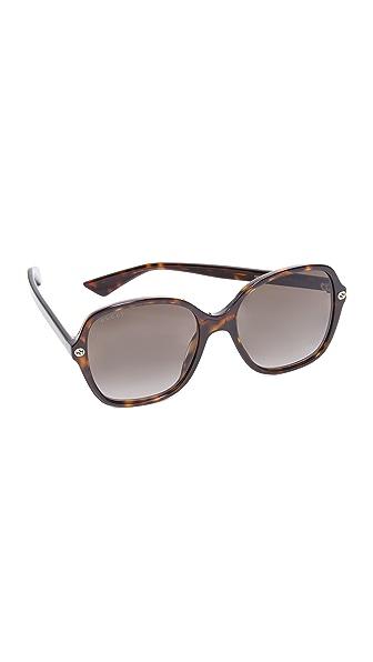 Gucci Sensual Romanticism Rectangle Sunglasses In Dark Havana/Brown