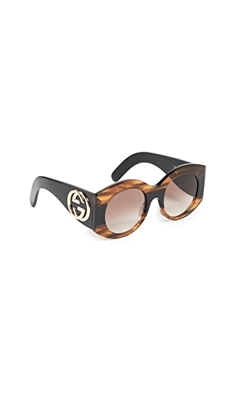 Gucci Urban Pop Web Oval Sunglasses at Shopbop