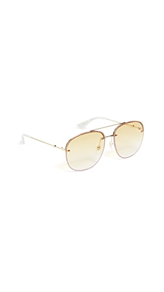 Gucci Urban Web Block Glitter Aviator Sunglasses at Shopbop