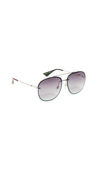 Gucci Urban Web Block Glitter Aviator Sunglasses In Green/Grey