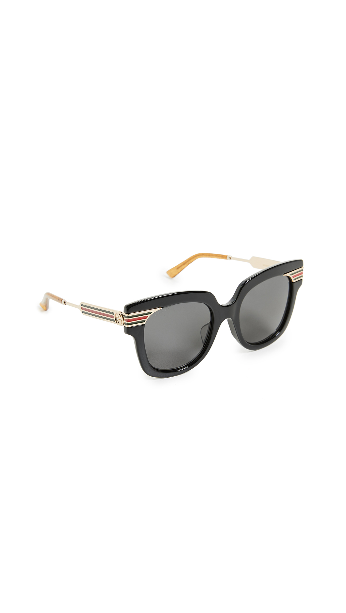 7d0aff4074a Gucci Gg0281S Square-Frame Black Acetate Sunglasses W Sylvie Web Temples In  Black Gold
