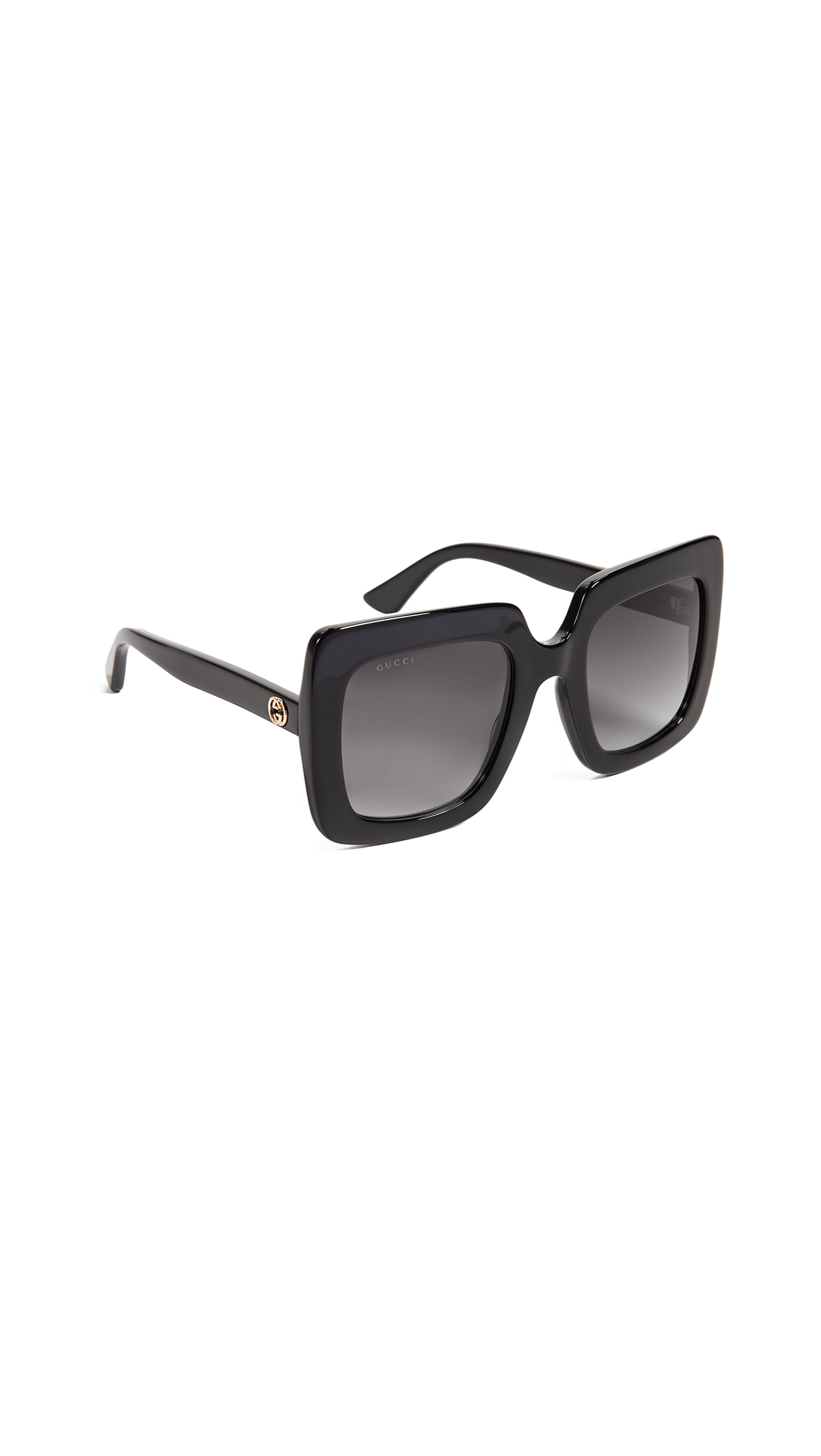 GUCCI Gg Square Oversized Sunglasses Black Gra nt Grey