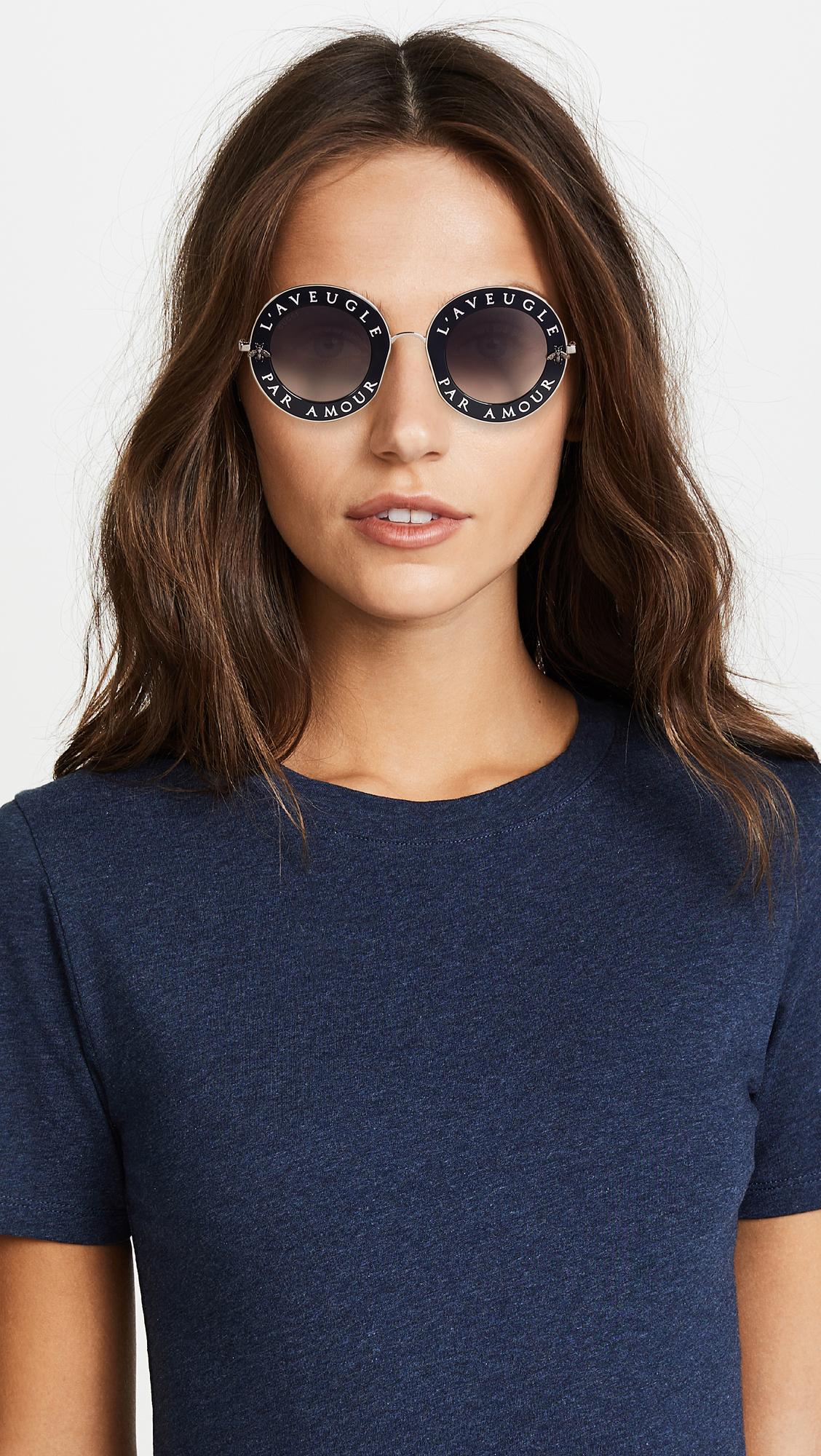 5f2711f1f39 Gucci L Aveugle Par Amour Round Sunglasses