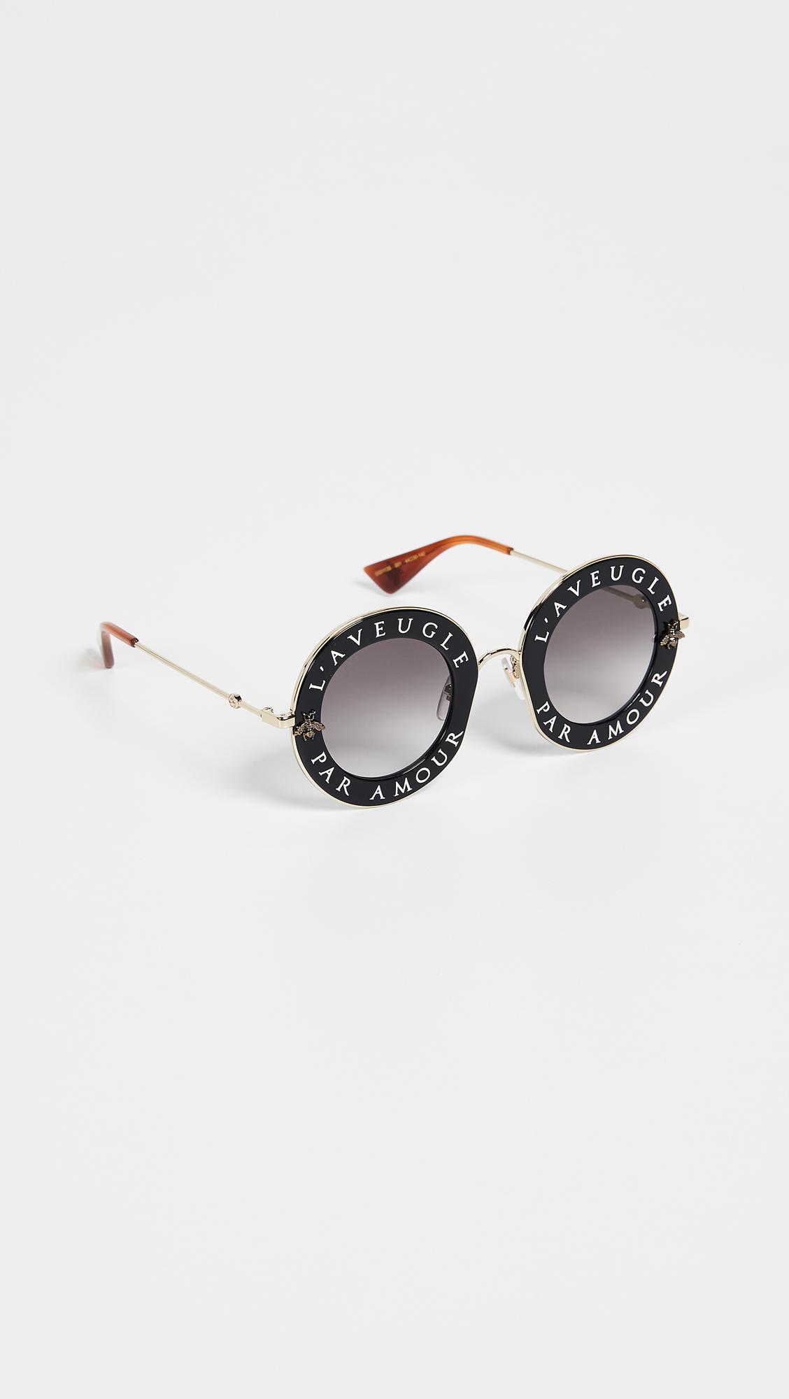 d77389098bf Gucci L Aveugle Par Amour Round Sunglasses