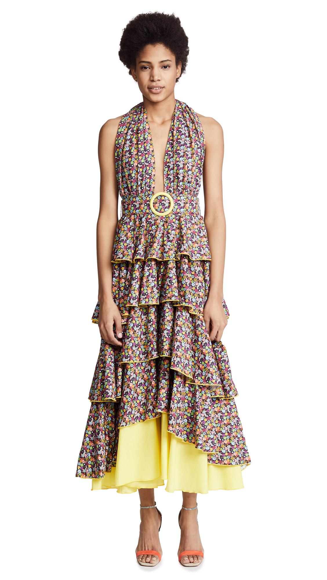 Gul Hurgel Yellow Floral Tiered Maxi Dress