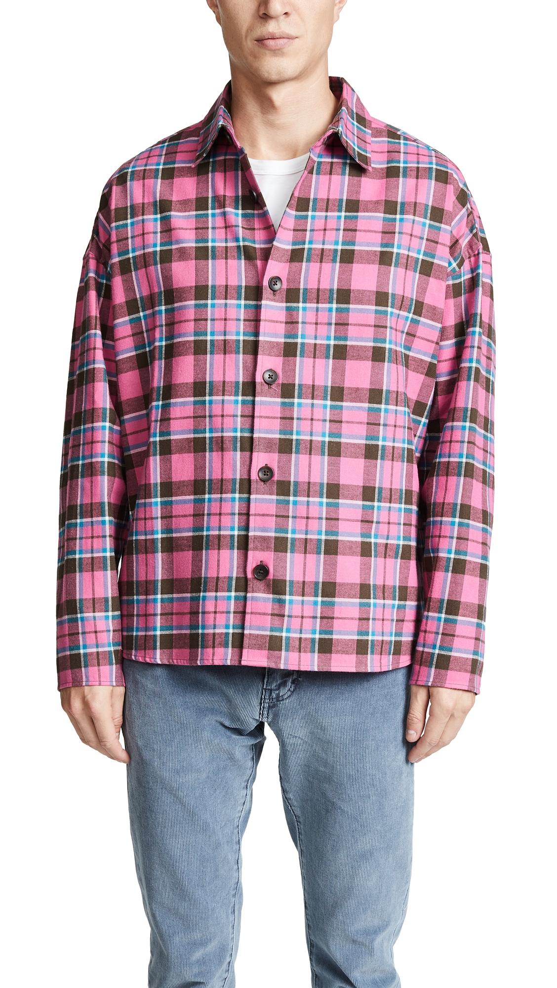 GUSTAV VON ASCHENBACH Boxy Plaid Flannel Shirt in Pink