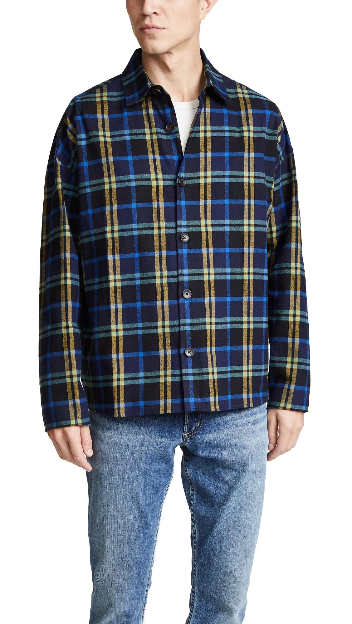 GUSTAV VON ASCHENBACH Boxy Plaid Flannel Shirt in Navy