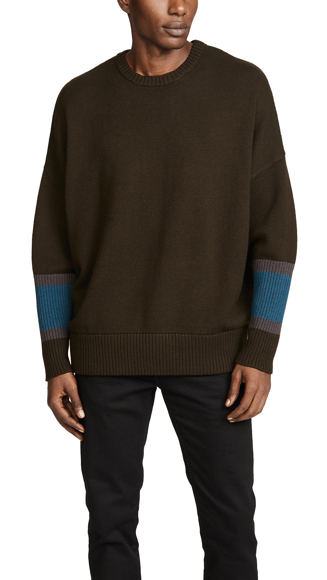 GUSTAV VON ASCHENBACH Knit Crewneck Sweater in Dark Green