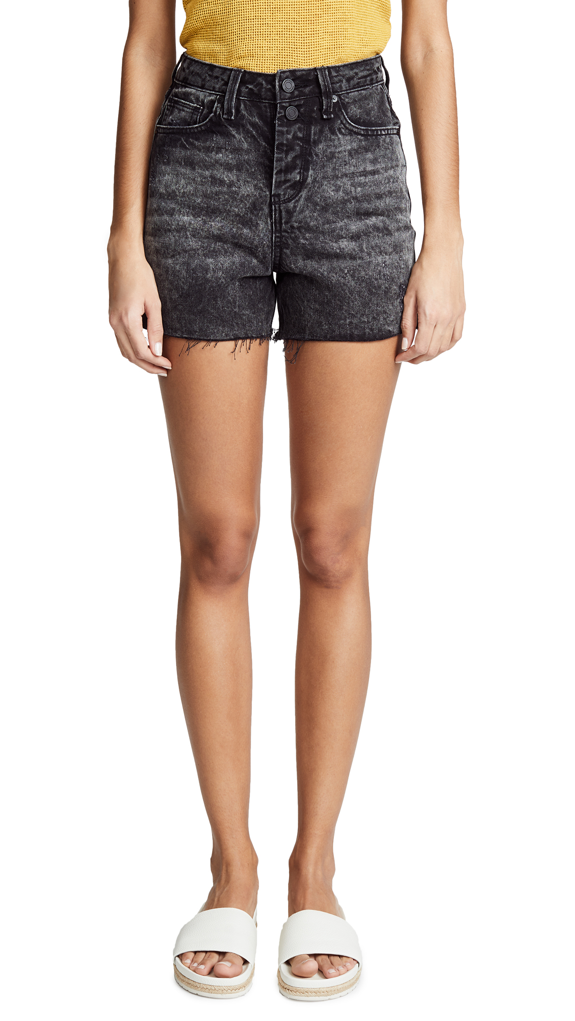 Habitual High Rise Mom Shorts In Obsidian