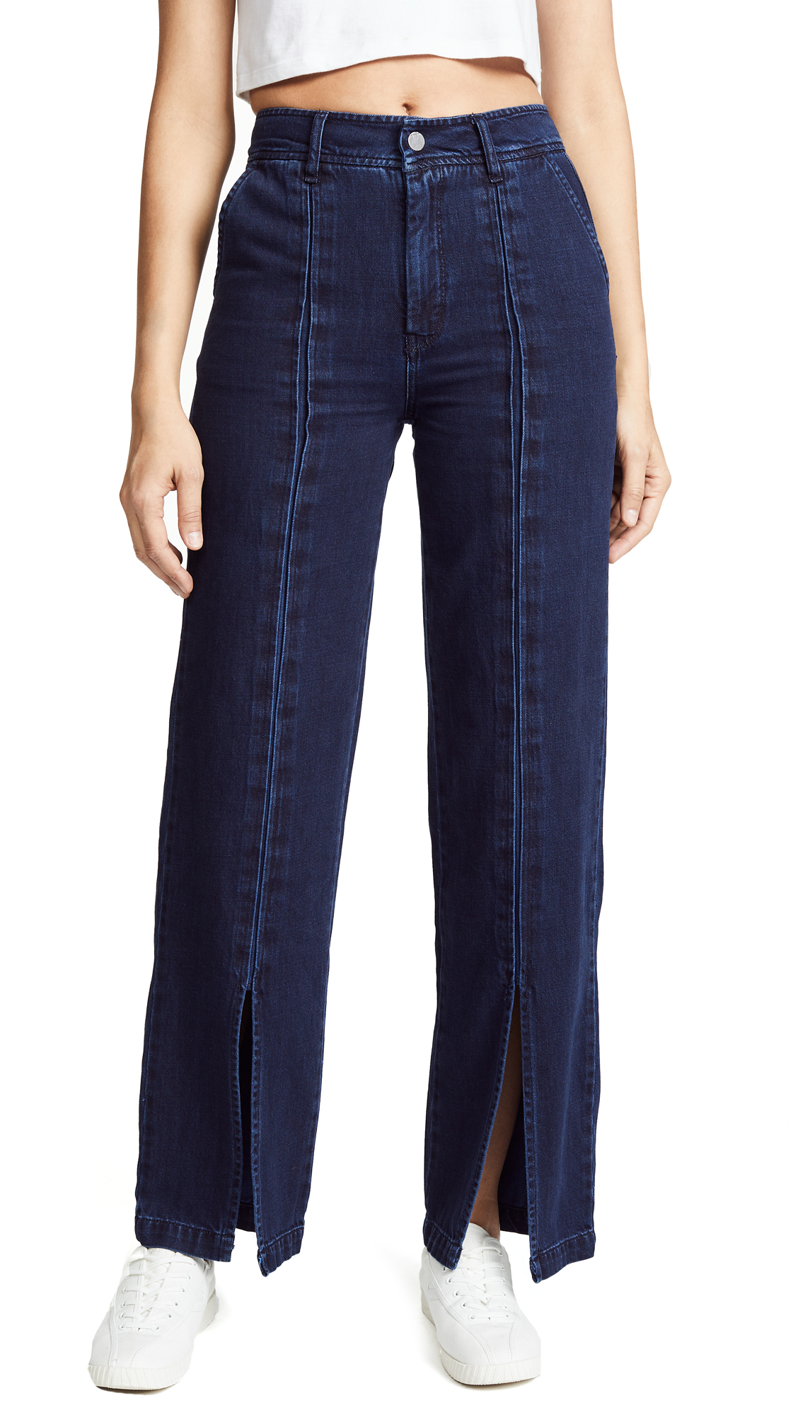 Habitual High Rise Slit Front Straight Trousers In Deep Night