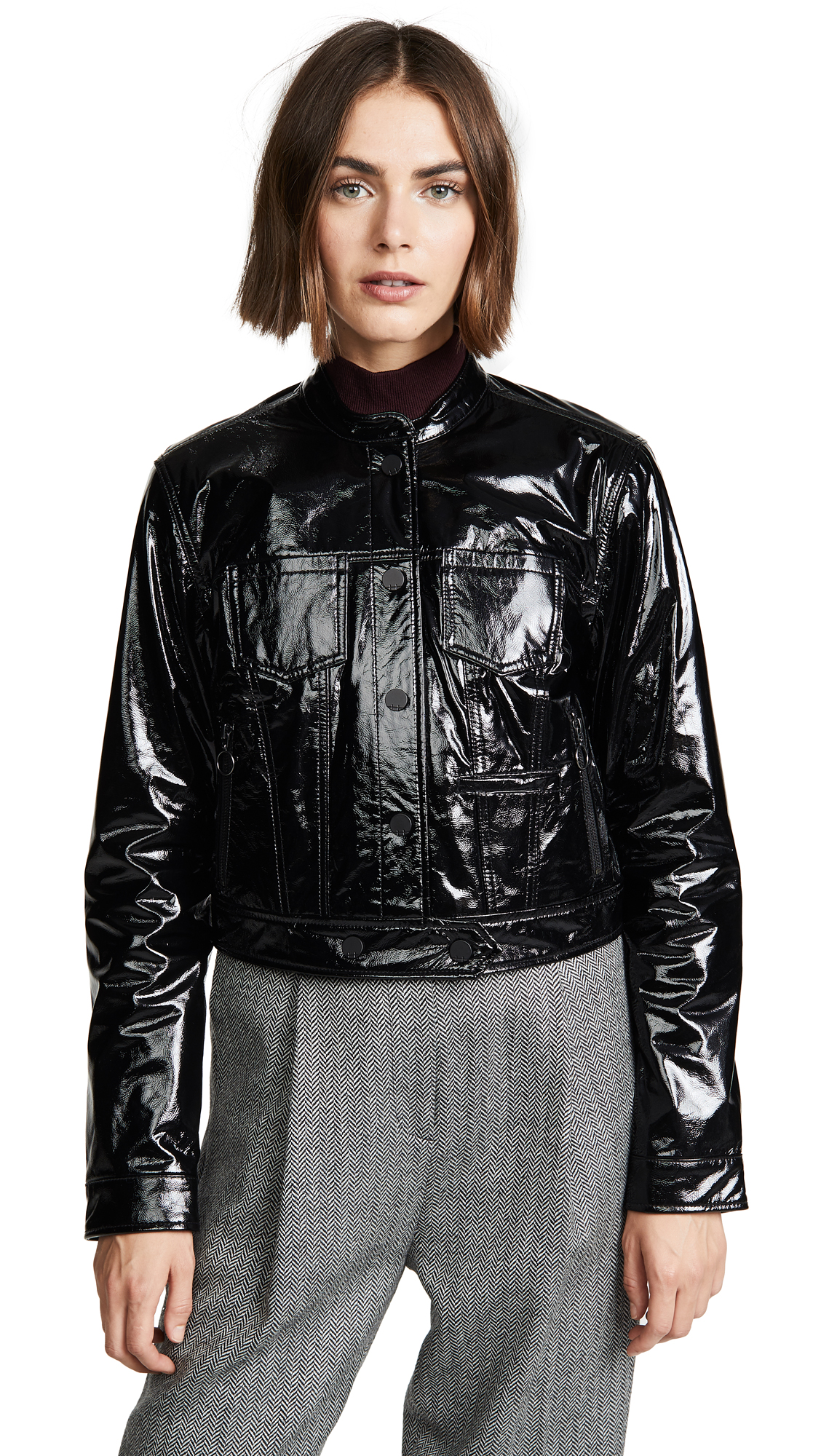 Habitual Remy Patent Moto Jacket In Black