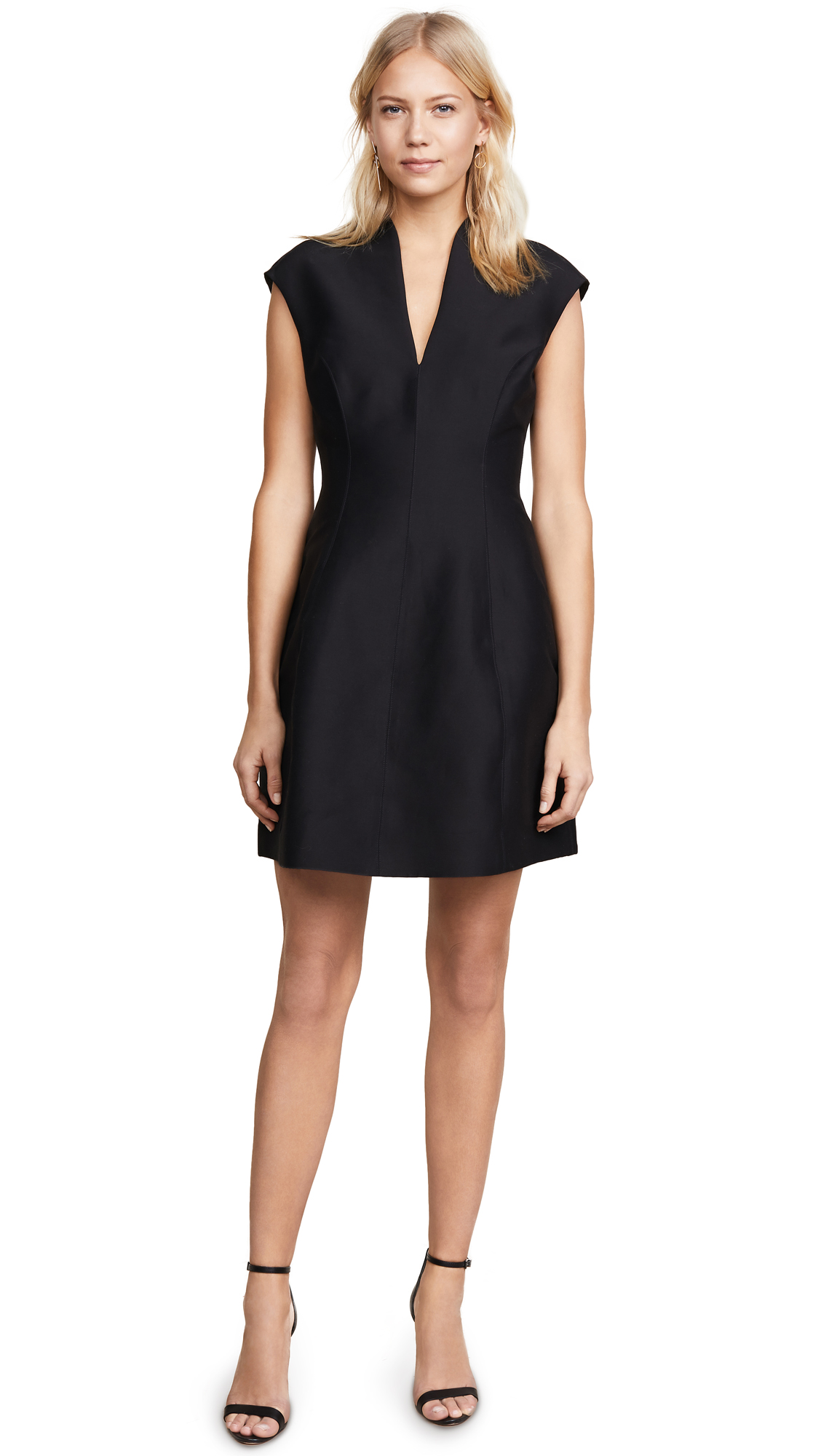 Halston Heritage Cap Sleeve Structured Dress - Black