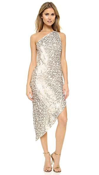 Halston Heritage One Shoulder Sequin Dress - Oyster/Gold