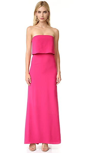 Halston Heritage Strapless Tiered Top Gown