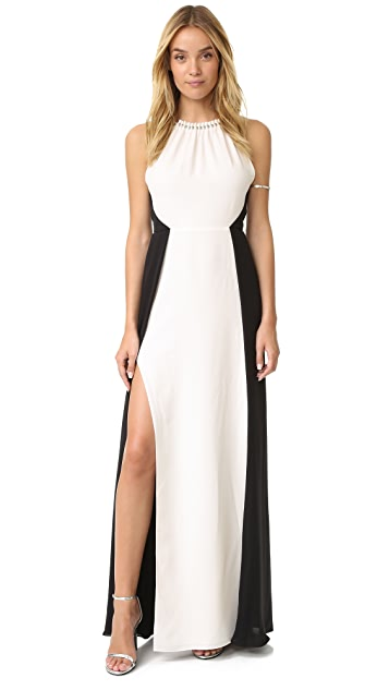 Halston Heritage Shirred Neck Colorblock Gown