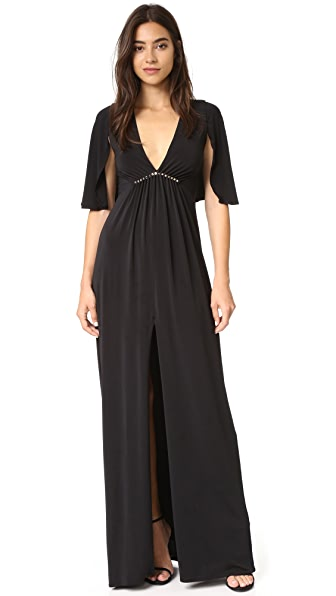 Halston Heritage Flounce Sleeve V Neck Gown