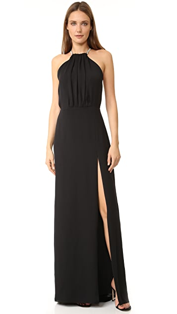 Halston Heritage High Neck Gown with Multi Chain Back