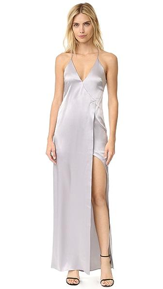 Halston Heritage V Neck Slip Dress with High Slit