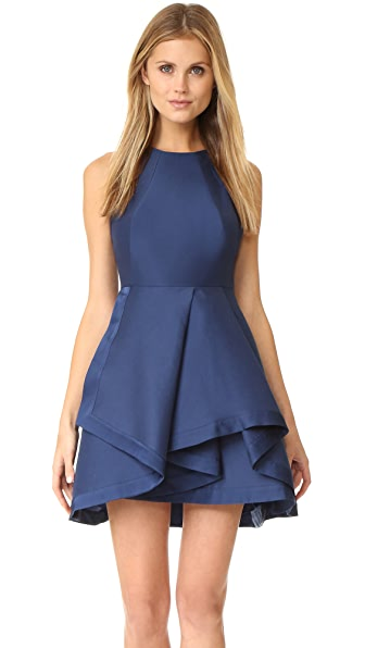 Halston Heritage High Neck Structured Dress - Navy
