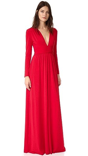 Halston Heritage V Neck Gown In Scarlet