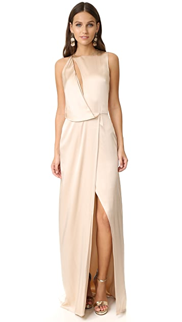 Halston Heritage Draped Cutout Gown
