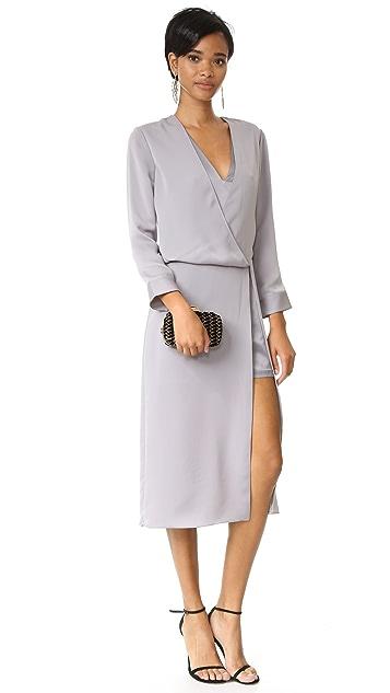Halston Heritage V Neck Draped Midi Dress