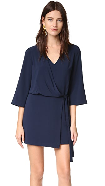 Halston Heritage V Neck Dress with Overlay & Ties