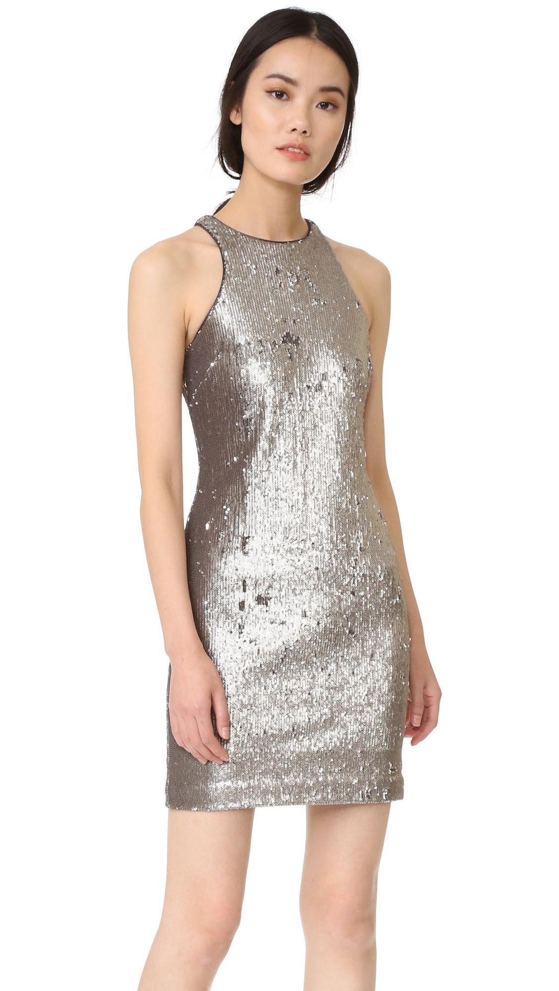 Halston Heritage Racer Back Sequined Dress - Antique Silver