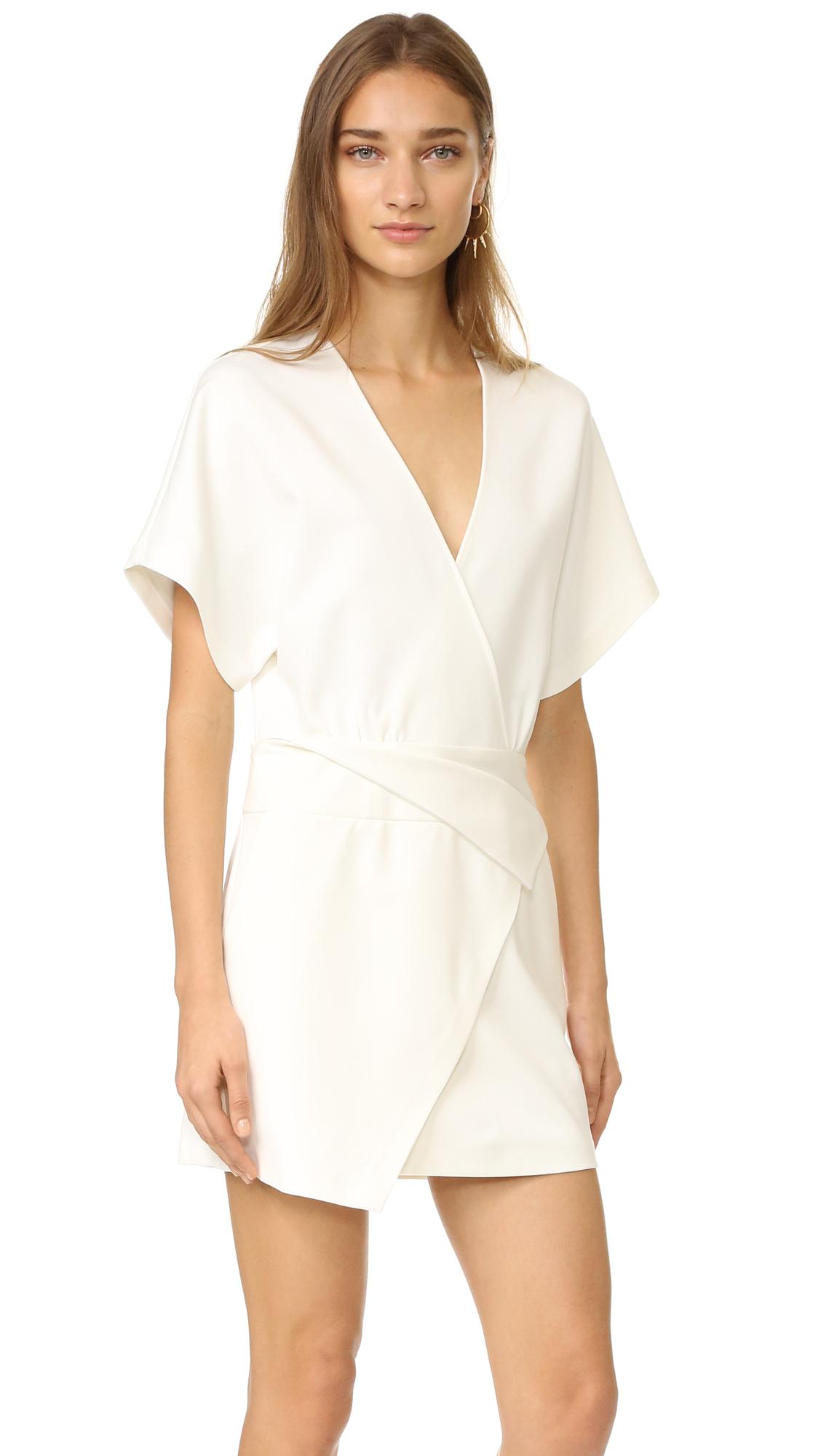Halston Heritage Deep V Wrap Dress - Chalk