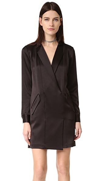 Halston Heritage Satin Shirtdress - Black