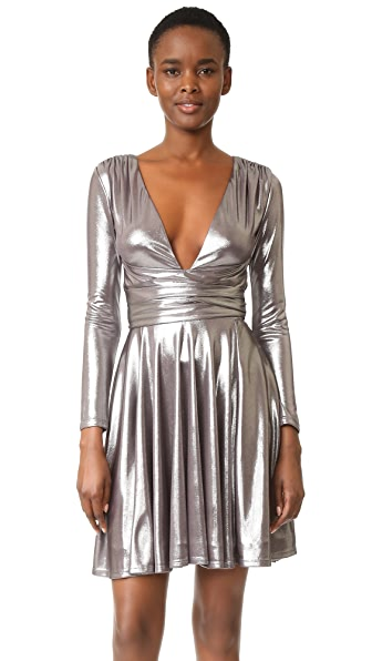 Halston Heritage Draped Metallic Dress - Gunmetal